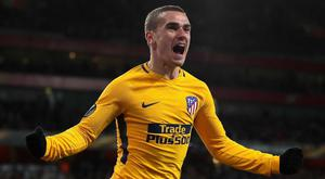 Antoine Griezmann of Atletico Madrid celebrates after scoring his sides equalising goal during the UEFA Europa League semi-final at Emirates Stadium . (Photo by Richard Heathcote/Getty Images)