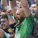 Connacht captain John Muldoon lifts the trophy following his side's victory over Leinster in the PRO12 final at Murrayfield. Photo: Sportsfile