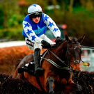 Danny Mullins edures a scare at the last on the way to guiding Cadmium to victory at Punchestown. Photo: Matt Browne/Sportsfile