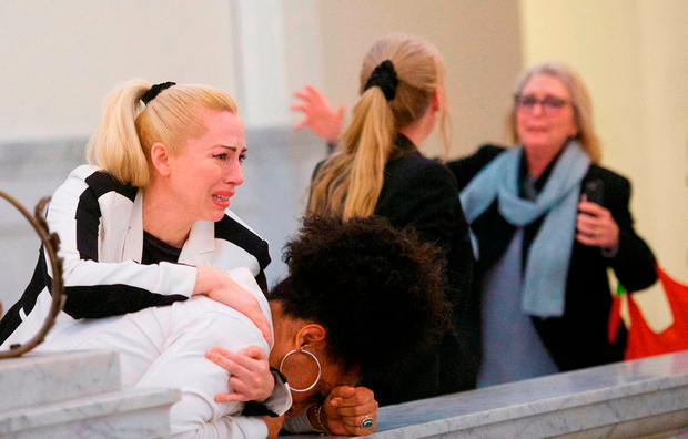 Cosby accusers (left to right) Caroline Heldman, Lili Bernard and Victoria Valentino react after Bill Cosby was found guilty on all counts in his sexual assault retrial at Montgomery County Courthouse in Norristown, Pennsylvania. Photo: Mark Makela/Reuters