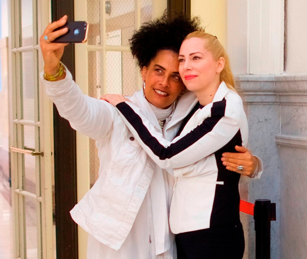 Bill Cosby accusers Lili Bernard and Caroline Heldman pose for a selfie at the Montgomery County Courthouse in Norristown, Pennsylvania.