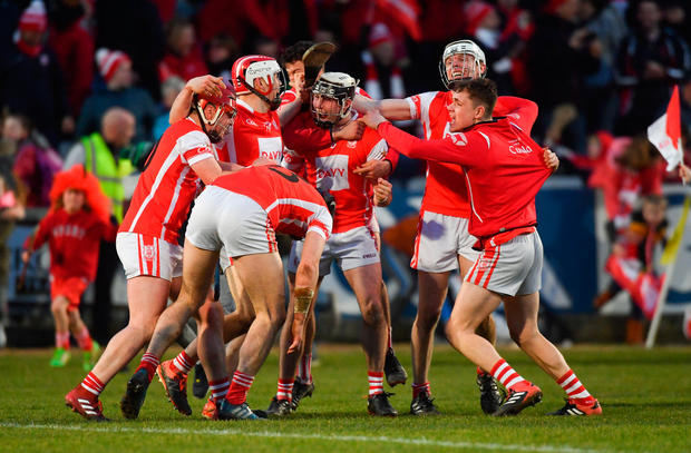 24 March 2018; Cuala players celebrate after the AIB GAA Hurling All-Ireland Senior Club Championship Final replay match between Cuala and Na Piarsaigh at O'Moore Park in Portlaoise, Laois. Photo by Piaras Ó Mídheach/Sportsfile