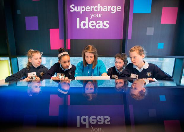 Picture shows from left Mimi Birchall;Ella Dockery; Amanda Joliffe, Dreamspace Lead,Microsoft;Katie Kirwan; and Sibeal Cherry students from Guardian Angels NS in Blackrock, Co Dublin Pic:Naoise Culhane