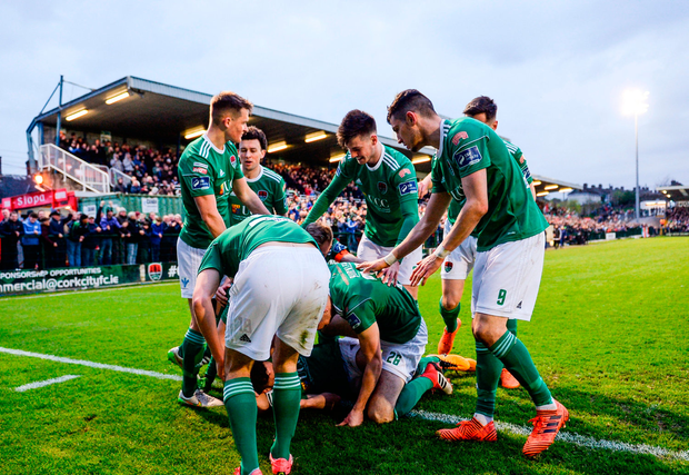Gearóid Morrissey of Cork City celebrates with team-mates
