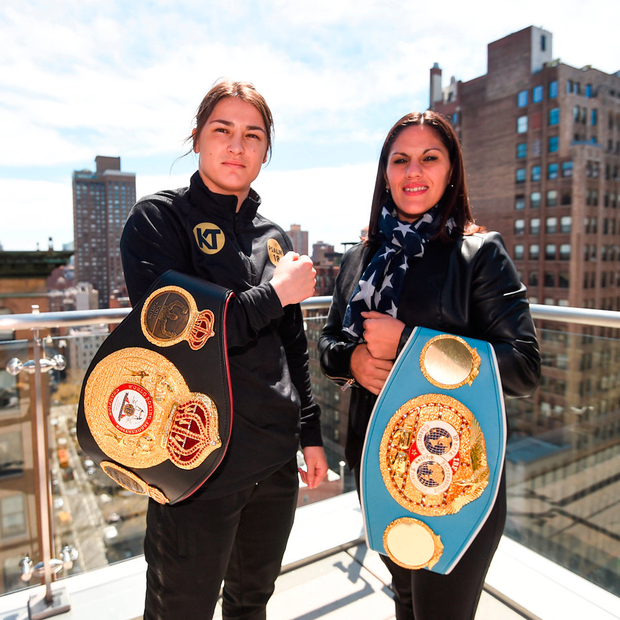 FACE-OFF: Katie Taylor and Victoria Bustos ahead of their IBF and WBA World lightweight unification bout on the Straight Outta Brooklyn fight night card. Photo: Stephen McCarthy/Sportsfile