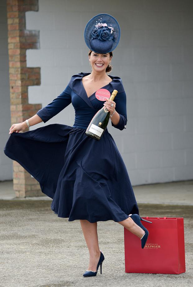 Eimear Cassidy won the Overall Bollinger Best Dressed Lady prize at the 2018 Punchestown festival. Photo: Michael Chester