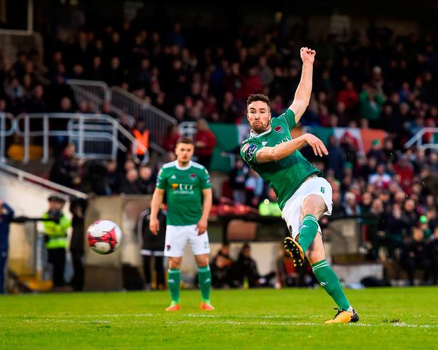 Concentration is the name of the game for Gearóid Morrissey as he scores the winner for Cork City at Turner's Cross. Photo: Eóin Noonan/Sportsfile