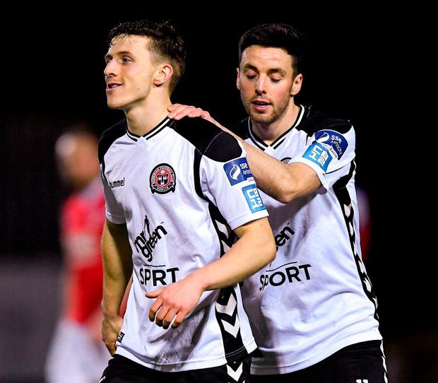 Bohemians' Keith Buckley and Kevin Devaney. Photo: Seb Daly/Sportsfile