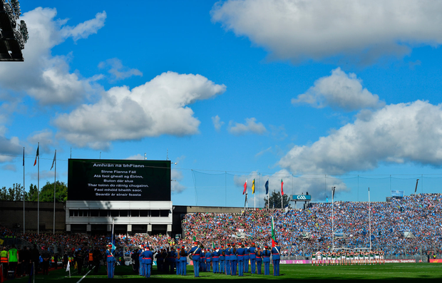 The national anthem, Amhrán na bhFiann, is played by the Artane Band prior to the GAA Football All-Ireland Senior Championship Final match between Dublin and Mayo at Croke Park in Dublin. Photo by Brendan Moran/Sportsfile