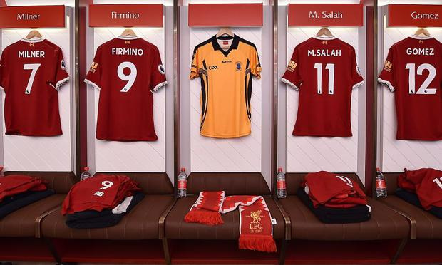St Peter's Dunboyne jersey in the Anfield dressingroom Pic: Liverpoolfc.com