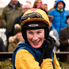 1 April 2018; Jockey Nina Carberry after winning the Tattersalls Ireland George Mernagh Memorial Sales Bumper with Pat's Pick on Day 1 of the Fairyhouse Easter Festival at Fairyhouse Racecourse in Ratoath, Co Meath. Photo by Seb Daly/Sportsfile