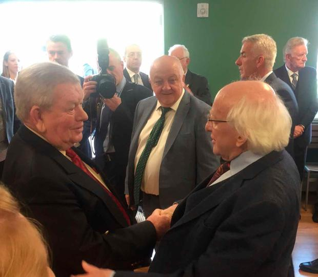 President Michael D Higgins meets John Hickey, they were in Ballycar primary school together