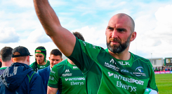 John Muldoon acknowledges the Connacht supporters after his last game for the province yesterday. Photo: Ramsey Cardy/Sportsfile