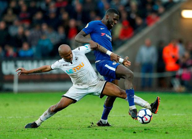 Swansea City's Andre Ayew in action with Chelsea's Antonio Rudiger. Photo: John Sibley/Action Images via Reuters