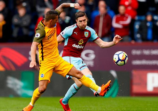 Burnley's Stephen Ward in action with Brighton's Anthony Knockaert. Photo: Jason Cairnduff/Action Images via Reuters