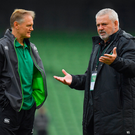 24 February 2018; Ireland head coach Joe Schmidt, left, with Wales head coach Warren Gatland prior to the NatWest Six Nations Rugby Championship match between Ireland and Wales at the Aviva Stadium in Lansdowne Road, Dublin. Photo by Brendan Moran/Sportsfile