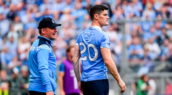 27 August 2017; Dublin manager Jim Gavin in conversation with Diarmuid Connolly during the GAA Football All-Ireland Senior Championship Semi-Final match between Dublin and Tyrone at Croke Park in Dublin. Photo by Ramsey Cardy/Sportsfile