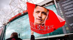 General view of a flag of Manchester United's Alexis Sanchez before the match