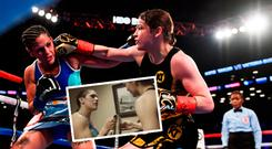 Katie Taylor, right, and Victoria Bustos and (inset) she hands back the belt