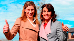 Nina Carberry (left) who retired on Saturday, poses with Katie Walsh, who retired a day earlier, during day five of the Punchestown Festival. Photo: PA