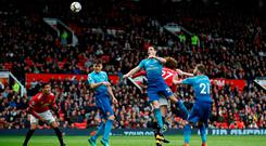 Marouane Fellaini scores the winner for Manchester United at Old Trafford. Photo: REUTERS