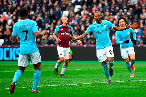 Fernandinho celebrates after scoring City's fourth goal of the game. Photo: Michael Regan/Getty Images