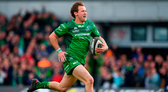 Connacht's Kieran Marmion runs in to score his side's fifth try in the match against Leinster. Photo: Brendan Moran/Sportsfile