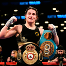 Katie Taylor celebrates in the ring at the Barclays Centre in Brooklyn, New York. Picture: Sportsfile