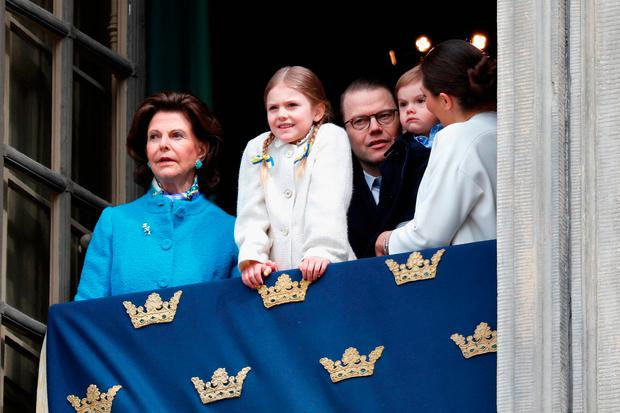 Queen Silvia of Sweden, Princess Estelle, Duchess of Ostergotland, Prince Daniel, Duke of Vastergotland, Prince Oscar, Duke of Skane and Crown Princess Victoria of Sweden attend a celebration of King Carl Gustav's 72nd birthday anniversary at the Royal Palace on April 30, 2018 in Stockholm, Sweden. (Photo by Michael Campanella/Getty Images)