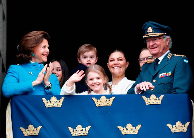 Queen Silvia of Sweden, Princess Sofia, Duchess of Varmland, Princess Estelle, Duchess of Ostergotland, Princess Sofia, Duchess of Varmland, Prince Oscar, Duke of Skane, Crown Princess Victoria of Sweden, Prince Daniel, Duke of Vastergotland and King Carl XVI Gustaf of Sweden attend a celebration of his 72nd birthday anniversary at the Royal Palace on April 30, 2018 in Stockholm, Sweden. (Photo by Michael Campanella/Getty Images)