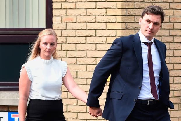File photo dated 19/07/17 of Shelby Thurston and William Thurston at Chelmsford Magistrates Court, where they both deny manslaughter by gross negligence and a health and safety offence following an incident in which a bouncy castle blew away, killing a little girl inside it. Photo: Joe Giddens/PA Wire