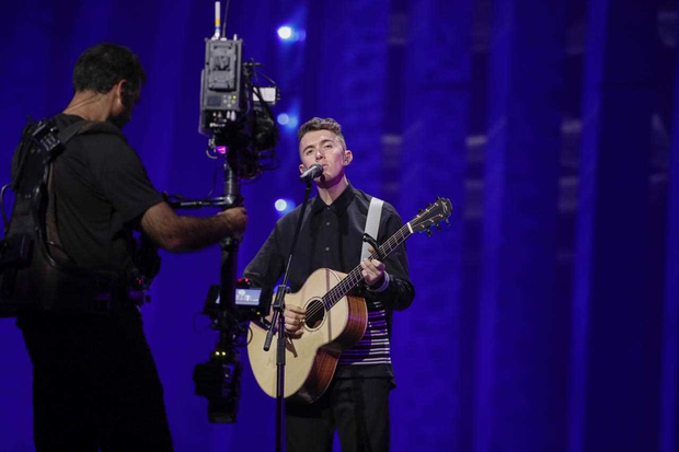 Ryan O'Shaughnessy during his first rehearsal for Eurovision in Lisbon