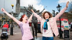 Actor Cora Fenton pictured with Sonia O'Sullivan in Cobh. Photo: Darragh Kane