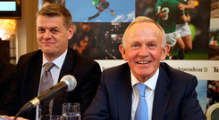 Former INM chairman Leslie Buckley (right) with former CEO Robert Pitt at the company's AGM in the Westbury Hotel, Dublin in 2015. Photo: Frank McGrath