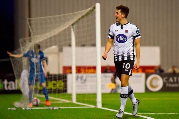 Jamie McGrath rounds off a 5-0 victory for Dundalk. Photo: Harry Murphy/Sportsfile
