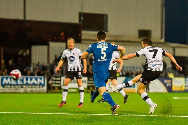 Michael Duffy scores Dundalk's fourth of the night. Photo: Harry Murphy/Sportsfile