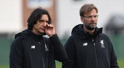 Zeljko Buvac and Jurgen Klopp. Photo: AFP/Getty Images