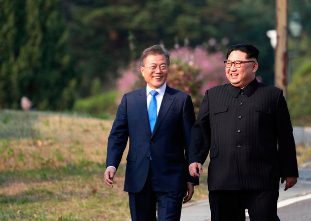 End to hostilities: Moon Jae-in and Kim Jong-un. (Korea Summit Press Pool via AP)