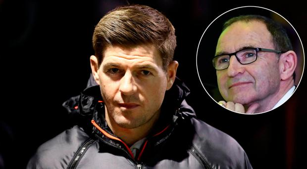 Martin O'Neill (inset) has warned Steven Gerrard that he would be inheriting a 'dreadful' Rangers outfit