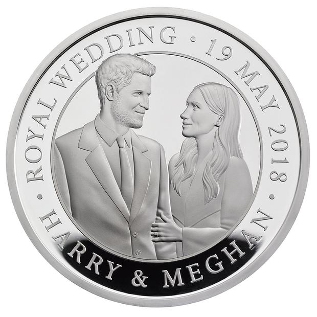 Undated handout photo issued by The Royal Mint of a new coin featuring Prince Harry and Meghan Markle commemorating the royal wedding. Photo: The Royal Mint/PA Wire