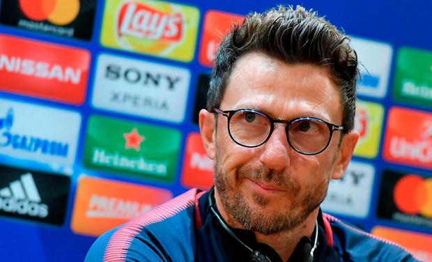 AS Roma's head coach Eusebio Di Francesco listens to a reporter's question during a press conference at the Olympic stadium, in Rome, Tuesday, May 1, 2018. AS Roma will face Liverpool in a Champions League semi-final return leg in Rome on Wednesday. (Ettore Ferrari/ANSA via AP)