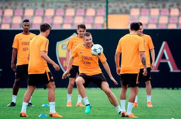 Roma players wore 'Forza Sean' jerseys during training today