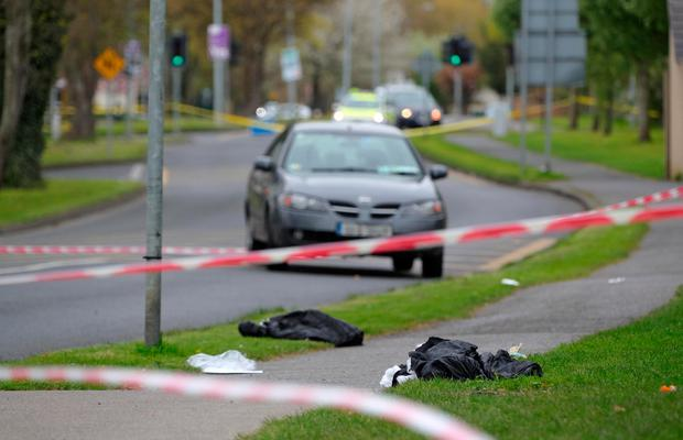 Abandoned clothing at the scene of the hit and run in Coolmine. Photo: Collins
