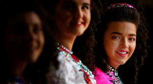 Traditional Irish dancer Grainne Casey with fellow members of the Robinson School of Irish Dancing pictured at the launch of Fleadh Cheoil na hÉireann. Photo: Gerry Mooney