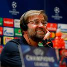 Liverpool manager Jurgen Klopp grimaces as he answers questions during yesterday's press conference at the Olympic Stadium in Rome. Photo: John Sibley/Action Images via Reuters
