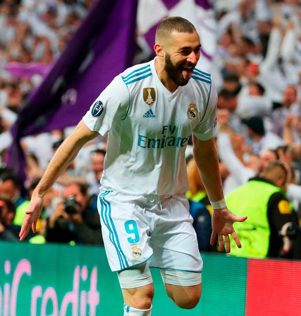 Karim Benzema celebrates after scoring Real Madrid's second goal against Bayern Munich at the Bernabeu. Photo: Catherine Ivill/Getty Images