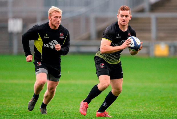 Paddy Jackson (right) has signed a cut-price deal with Sale Sharks, while Stuart Olding (left) is likely to agree similar terms. Photo: Oliver McVeigh/Sportsfile
