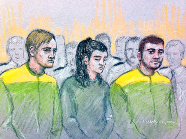 File court artist sketch by Elizabeth Cook dated 15/12/17 of (left to right) Zak Bolland, Courtney Brierley and David Worrall, who are accused of murdering four children in a house fire. Photo: Elizabeth Cook/PA Wire