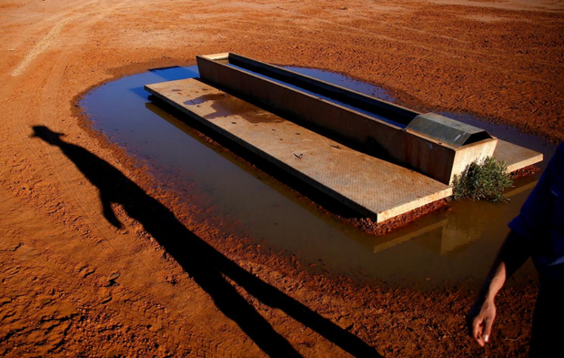 A farmer casts a shadow as he walks past a water trough located in a drought-affected paddock on Kahmoo Station property, located on the outskirts of the south-western Queensland town of Cunnamulla in outback Australia, August 10, 2017. REUTERS/David Gray/File Photo