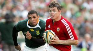 Bryan Habana tries to chase down Brian O'Driscoll during the Lions Tour of South Africa in 2009
